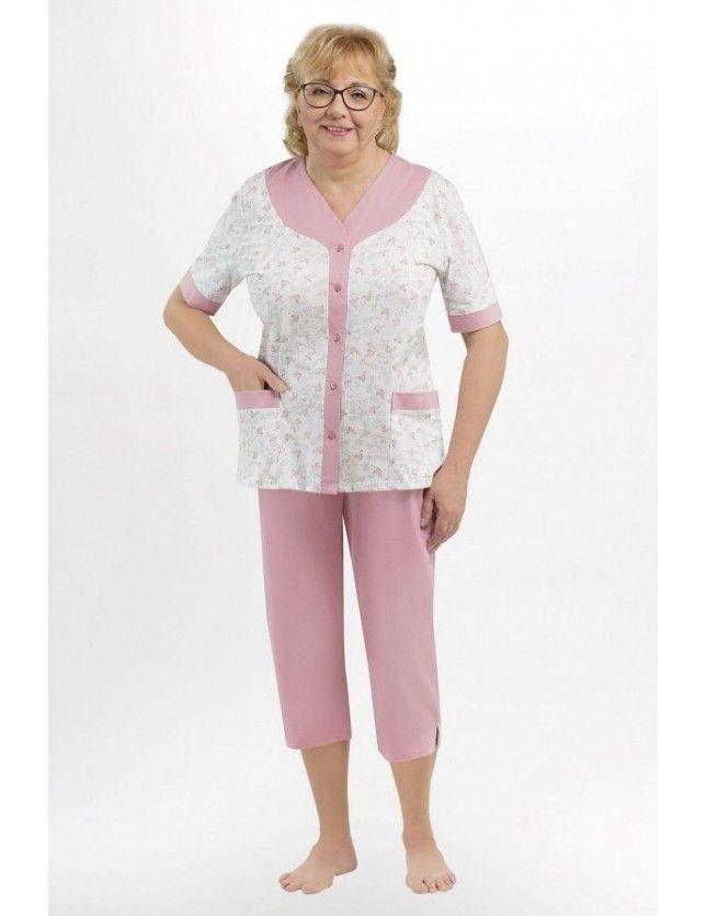 Elöl gombos női pizsama Honorata 211 kr/r 3XL-4XL