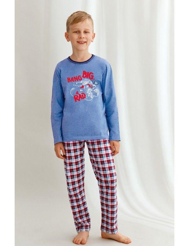 Kockás nadrágos fiú pizsama Mario 2651 dł/r 122-140 Z'22
