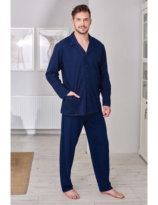 Pamut elöl gombos férfi pizsama 265A dł/r 2XL-3XL '18