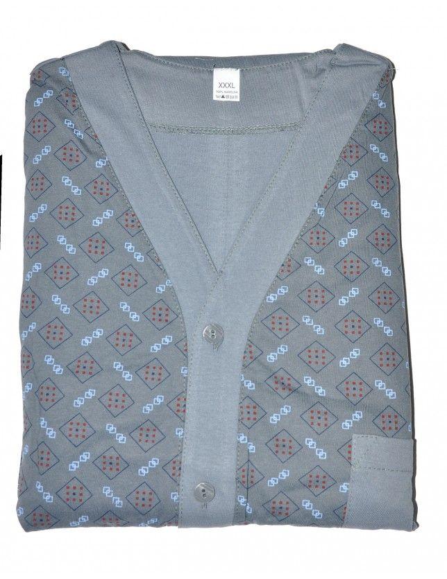Klasszikus férfi pizsama nagy méret 854 DŁ/R 4XL-5X